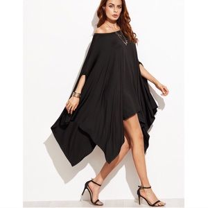 ➕Beautiful Black Poncho Dress Tunic Top